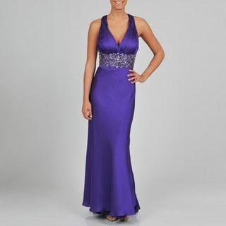 JR Nites Women's Embellished Halter Gown