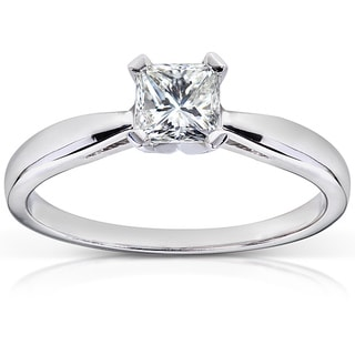 Annello 14k White Gold 1/2 ct TDW Diamond Solitaire Engagement Ring (H-I, VS1-VS2)
