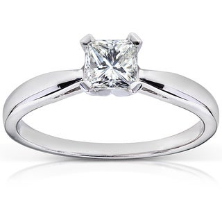 Annello 14k White Gold 1/2 ct TDW Radiant Cut Diamond Solitaire Engagement Ring (H-I, VS1-VS2) with Bonus Item