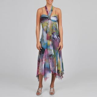 S.L. Fashions Women's Tropical Printed Halter Dress
