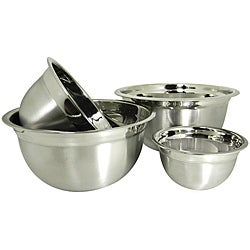 Prime Pacific Stainless Steel Euro Style German Deep Mixing Bowl (Set of 4)