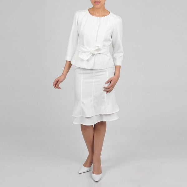 Signature by Larry Levine Women's Novelty Collarless Skirt Suit