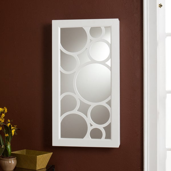 Upton Home Tenley Frosty-white Ready-to-hang Wall-mount Jewelry Storage Mirror