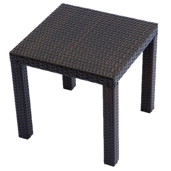 outdoor espresso rattan patio side table furniture garden pool dining