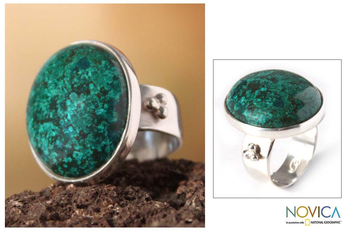 Silver 'Living Planet' Chrysocolla Ring (Peru)