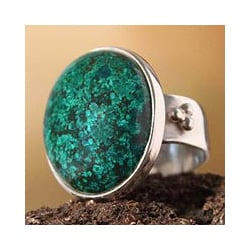 Silver 'Living Planet' Chrysocolla Ring (Peru)