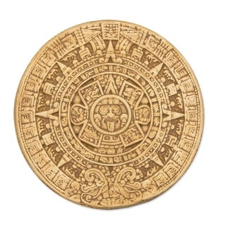Ceramic 'Small Ochre Aztec Calendar' Plaque