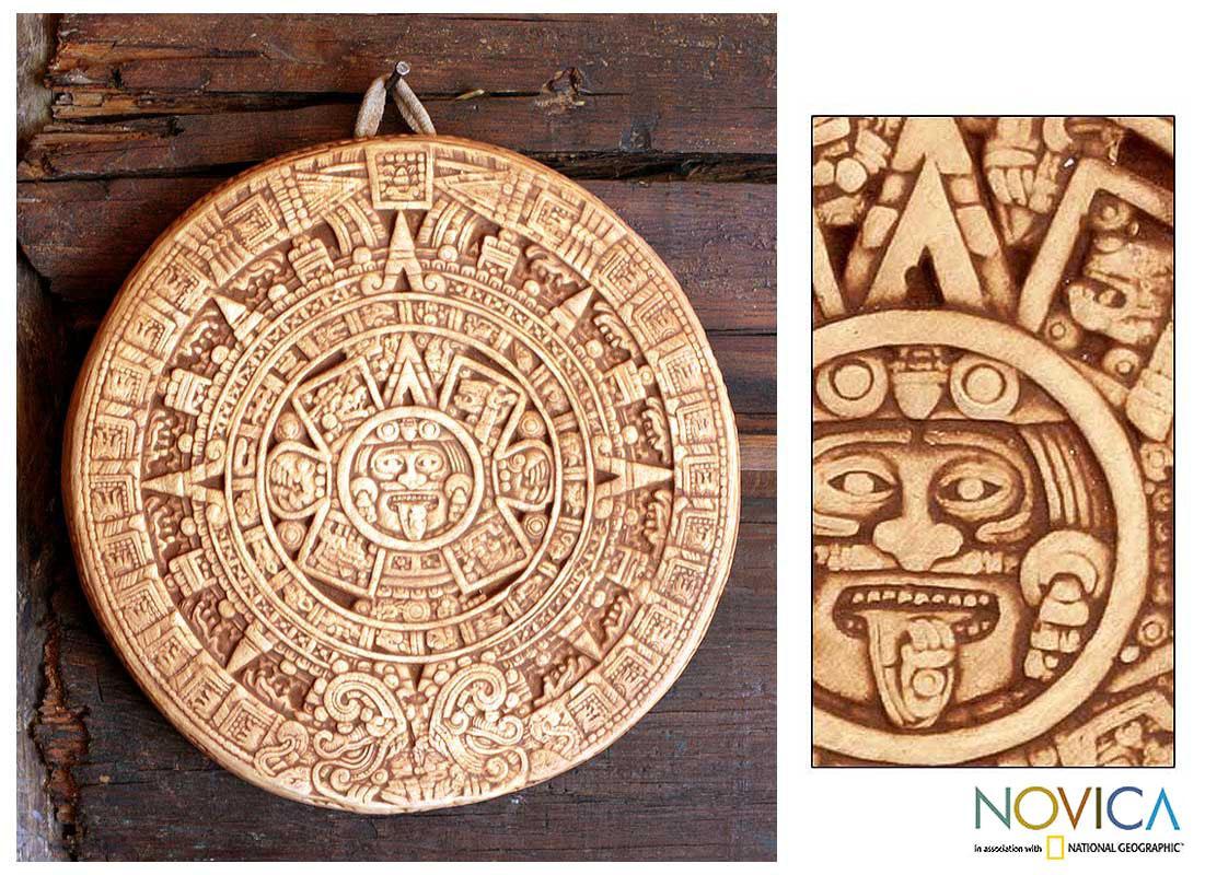 Ceramic 'Small Ochre Aztec Calendar' Plaque , Handmade in Mexico