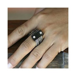 Sterling Silver 'Trinidad Bay' Ebony Wood Cocktail Ring (Indonesia)