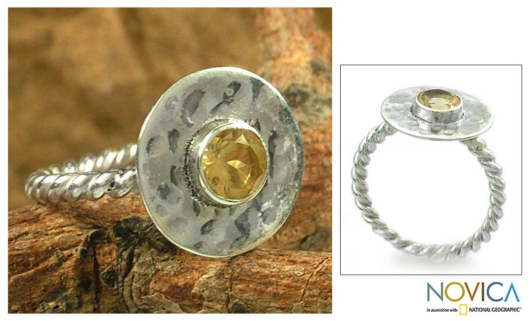 Sterling Silver Twist Of Lemon' Citrine Cocktail Ring '(India)