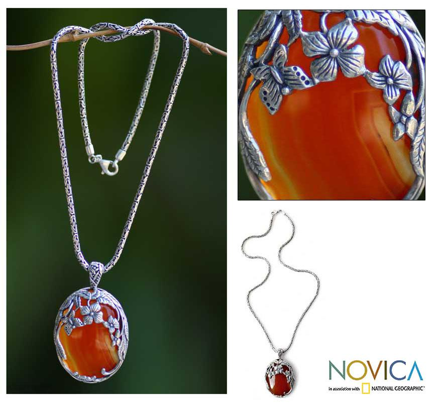 Sterling Silver 'Summer Passion' Carnelian Necklace (Indonesia)
