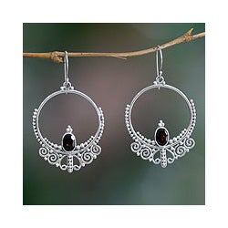 Sterling Silver 'Queen of Java' Garnet Dangle Earrings (Indonesia)