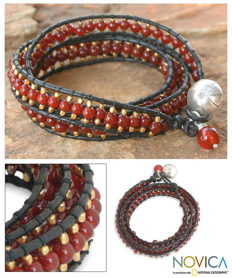 Carnelian Handcrafted 'Bright Day' Leather Wrap Bracelet (Thailand)