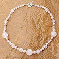 Rose Quartz 'Thai Romance' Pearl Necklace (7 mm) (Thailand)