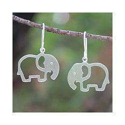 Sterling Silver 'Moonlit Elephants' Earrings (Thailand)