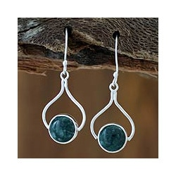 Sterling Silver 'Modern Mixco' Jade Earrings (Guatemala)