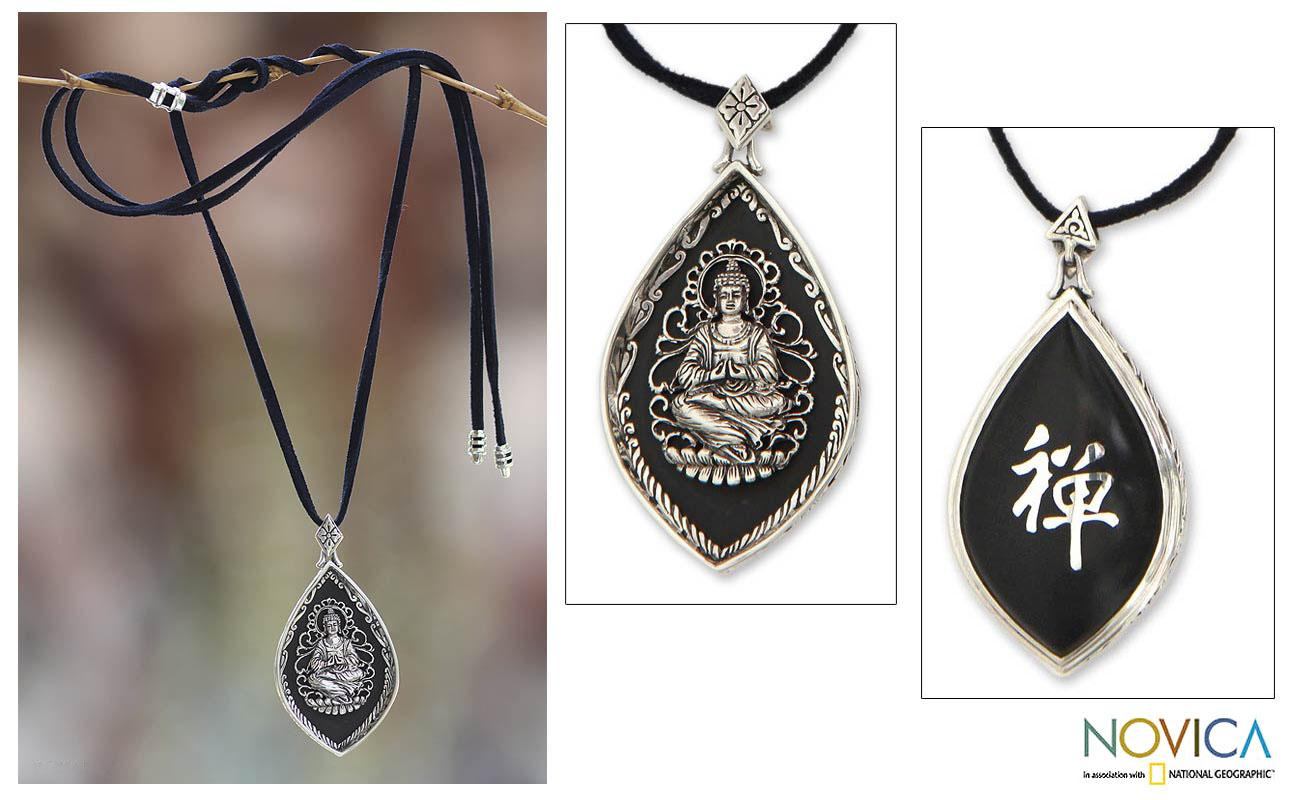 Sterling Silver 'Enlightened Buddha' Arang Wood Necklace (Indonesia)