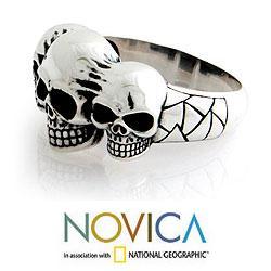 Sterling Silver Men's 'Skull Trio' Ring (Indonesia)