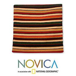 Wool 'Parallel Symphony' Cushion Cover (Peru)