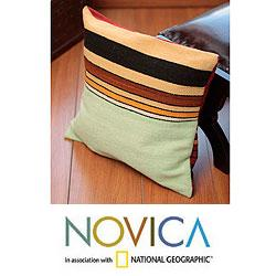 Wool 'Parallel Contrasts' Cushion Cover (Peru)