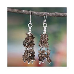 Sterling Silver Handcrafted 'Rejoice' Smoky Quartz Earrings (India)