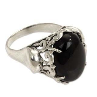 Night Shadow Artisan Handmade Fashion Floral Sterling Silver Black Onyx Gemstone Jewelry 3mm Size Cocktail Ring (Indonesia)