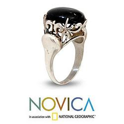 Sterling Silver 'Night Shadow' Onyx Cocktail Ring (Indonesia)