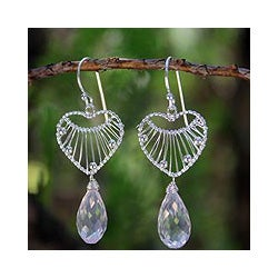 Sterling Silver 'Web of Love' Rose Quartz Heart Earrings (Thailand)