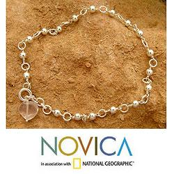 Sterling Silver 'Love Song' Rose Quartz Anklet (India)