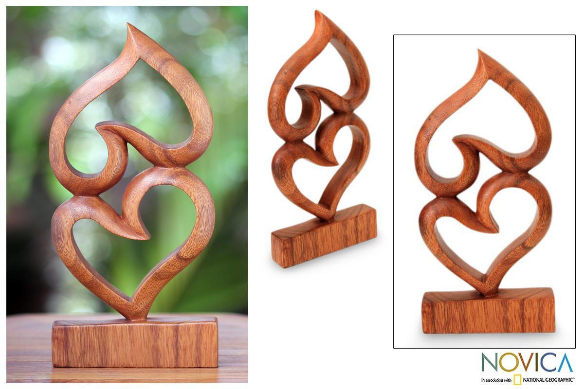 Suar Wood 'Upside Down Love' Sculpture (Indonesia)