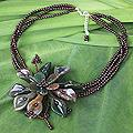 Agate 'Fortune's Bloom' Garnet Flower Necklace (Thailand)