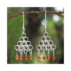 Sterling Silver 'Chiang Mai Light' Carnelian Earrings (Thailand)