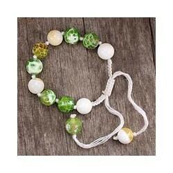 Cotton 'Spring Constellation' Chalcedony Wristband Bracelet (India)