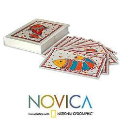Set of 8 Paper 'Fish of India' Madhubani Greeting Cards  (India)