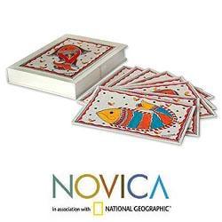 Set of 8 Paper 'Fish of India' Madhubani Greeting Cards (India)