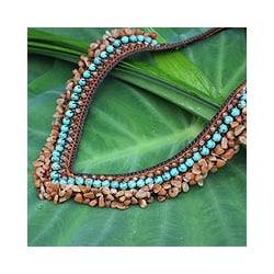 Carnelian 'Tribal Paths' Beaded Necklace (Thailand)
