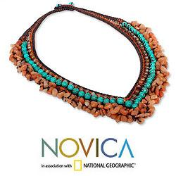 Carnelian 'Tribal Paths' Beaded Necklace (Thailand)