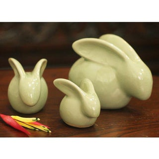 Set of 3 Celadon Ceramic 'Chiang Mai Rabbits' Figurines (Thailand)