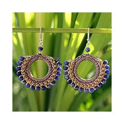 Handcrafted Sodalite 'Thai Suns' Earrings (Thailand)
