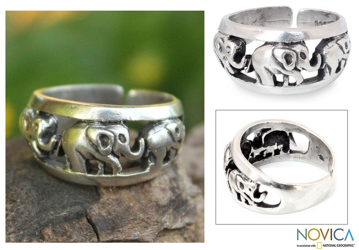 Sterling Silver 'Siam Elephants' Ring (Thailand)