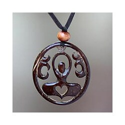 Coconut Shell 'Sukhasana Yoga' Necklace (Indonesia)