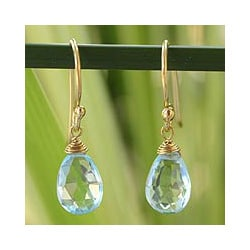 Gold Overlay 'Sublime Elegance' Blue Topaz Dangle Earrings (Thailand)