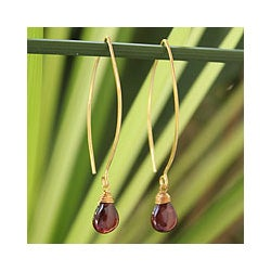 Gold Overlay 'Breath of Love' Garnet Dangle Earrings(Thailand)