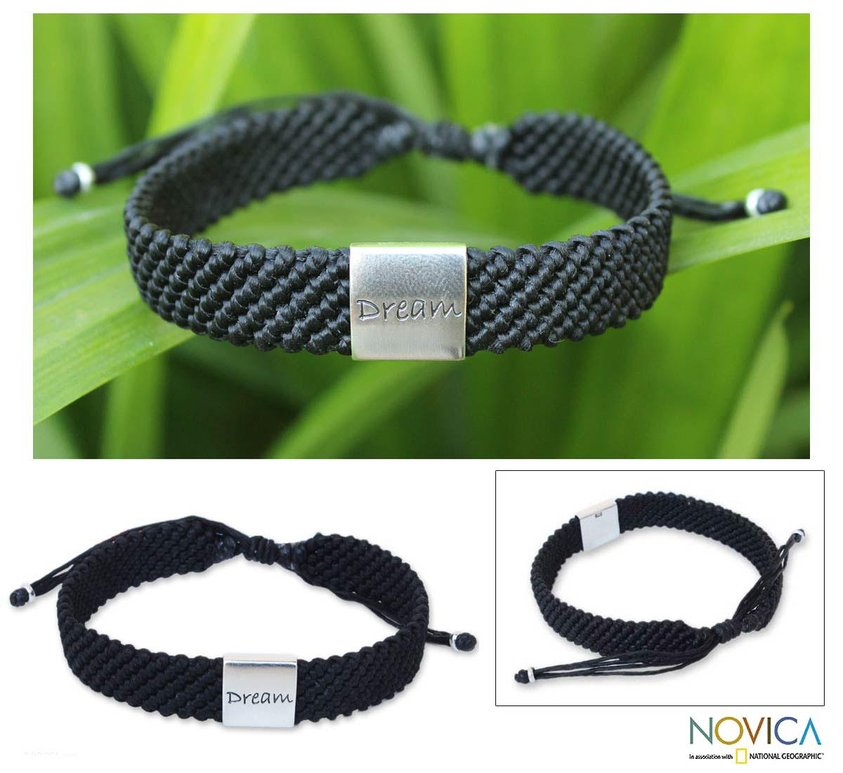 Silver Accent 'Dream' Polyester Wristband Bracelet (Thailand)