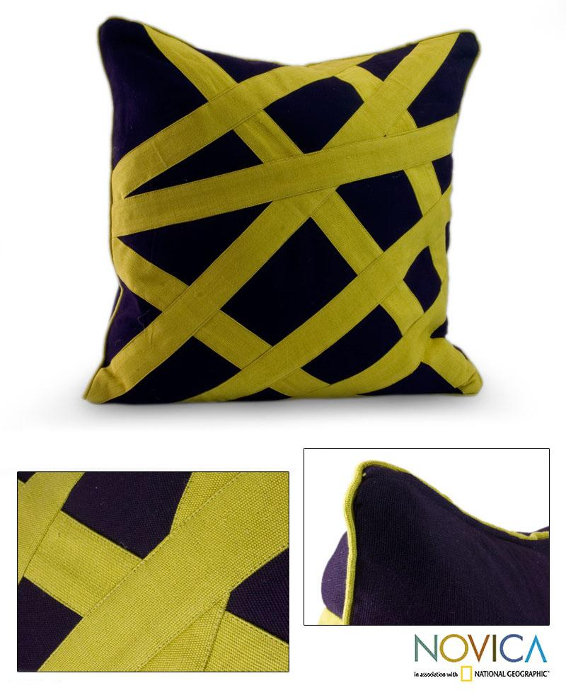 Cotton 'Eccentric Lemon' Cushion Cover (Guatemala)
