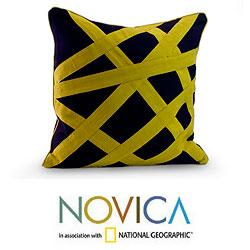 Cotton 'Eccentric Lemon' Cushion Cover (Guatemala)