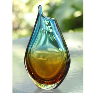 Handcrafted Murano Art Glass 'Sunny Sea' Handblown Vase (Brazil)