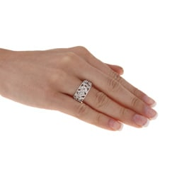 Sterling Essentials Antique Design Sterling Silver CZ Ring