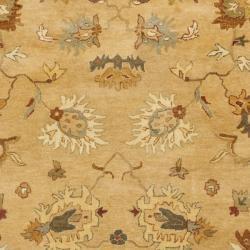 Handmade Zeigler Taupe/ Ivory Hand-spun Wool Rug (8' x 10')