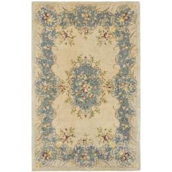 Handmade Ivory/ Light Blue Hand-spun Wool Rug (4' x 6')